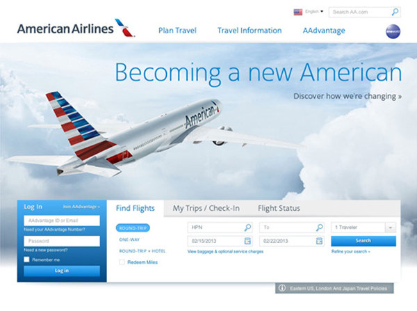 American Airlines site home page