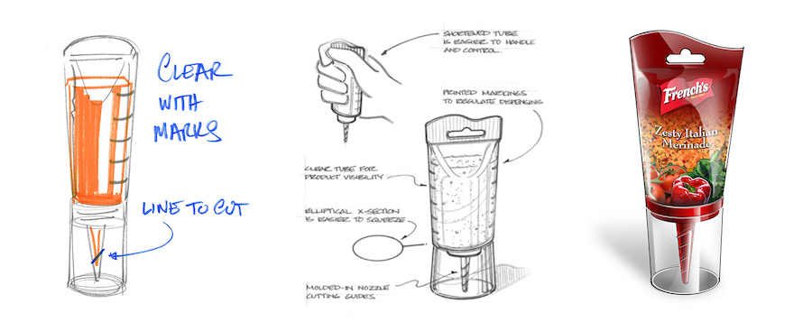 French's Flavor infuser packaging sketches